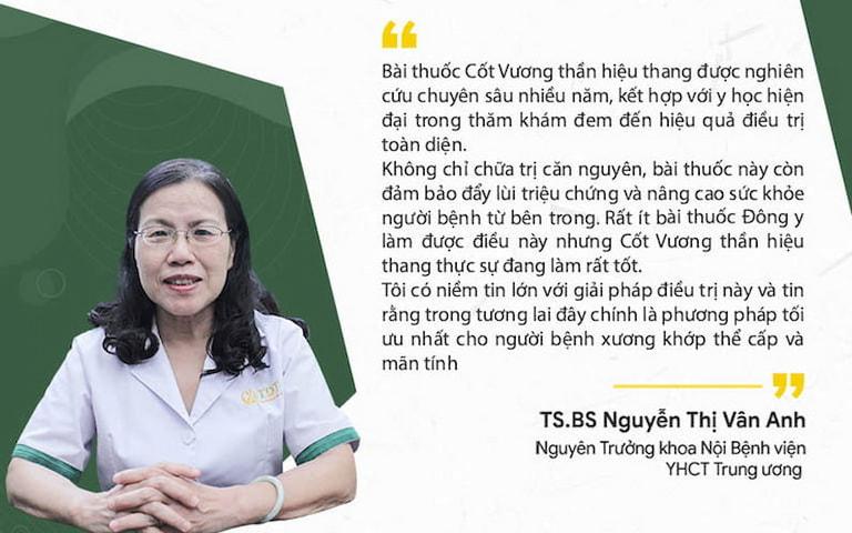Tiến sĩ - Bác sĩ Nguyễn Thị Vân Anh nhận xét về bài thuốc