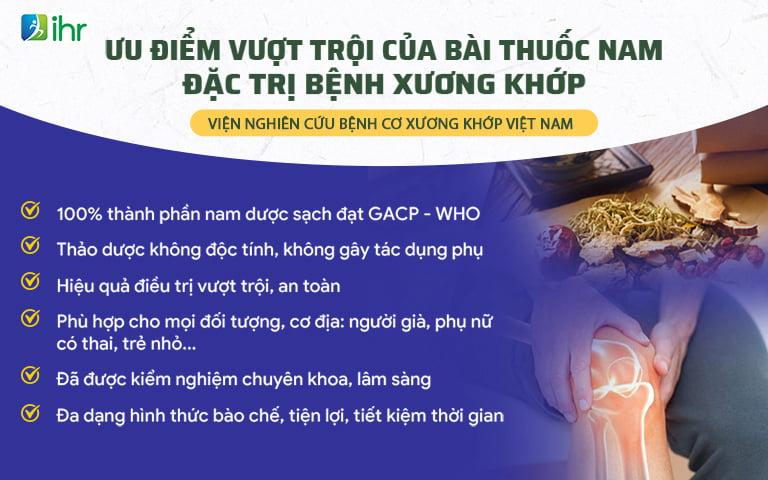 Ưu điểm bài thuốc xương khớp do Viện Nghiên cứu bệnh cơ xương khớp IHR Việt Nam thực hiện thành công