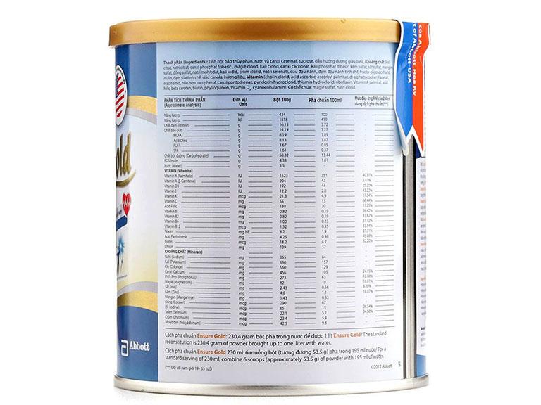 Sữa Ensure Gold cung cấp 28 loại vitamin và khoáng chất